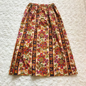 VINTAGE 60s A Line Psychedelic Floral Skirt B08